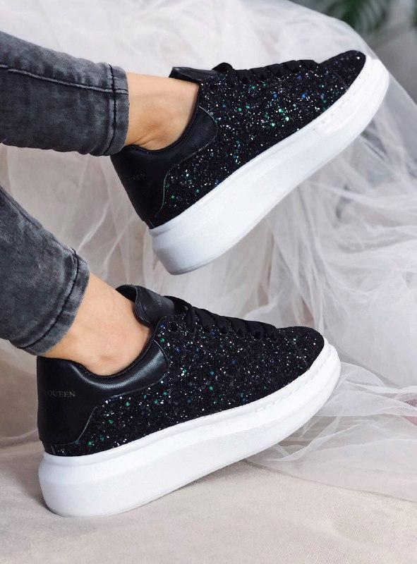 Шикарные женские кроссовки alexander mcqueen black white  lux ... - Фото 5