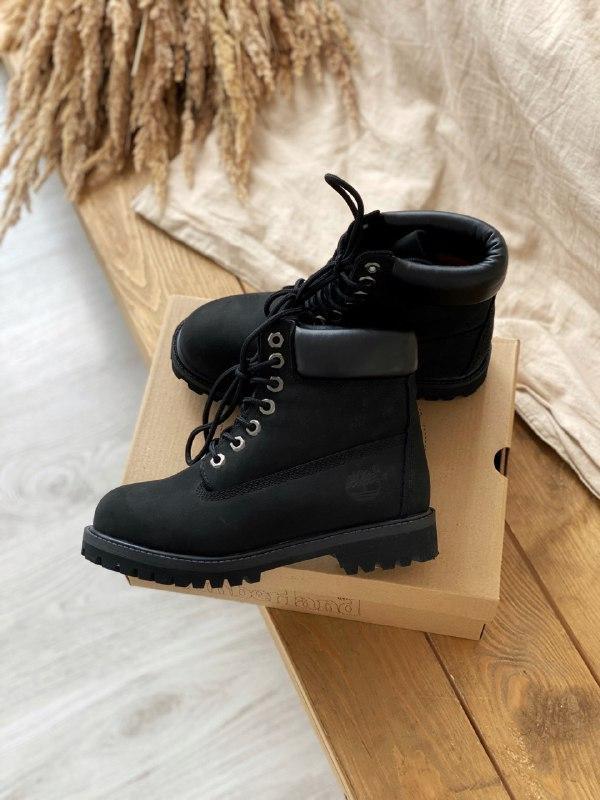 Шикарные зимние ботинки  унисекс timberland 6 inch premium bla...