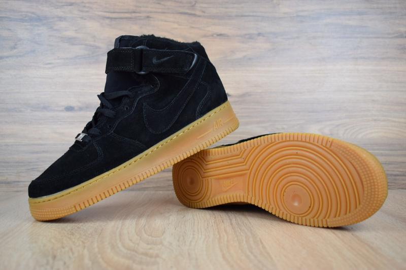 Шикарные мужские кроссовки с мехом nike air force черные на бе... - Фото 3