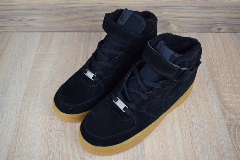 Шикарные мужские кроссовки с мехом nike air force черные на бе... - Фото 4