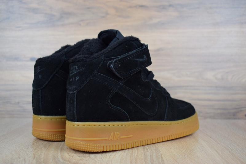 Шикарные мужские кроссовки с мехом nike air force черные на бе... - Фото 5