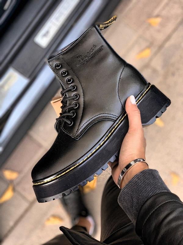 Шикарные женские зимние ботинки с мехом dr.martens black jadon...