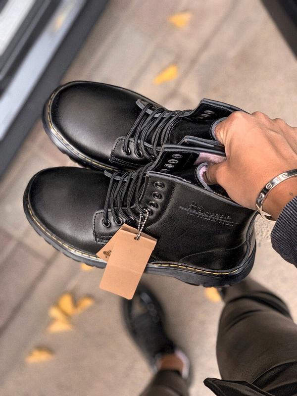 Шикарные женские зимние ботинки с мехом dr.martens black jadon... - Фото 2