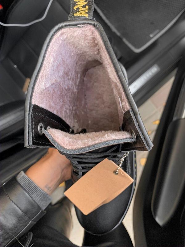 Шикарные женские зимние ботинки с мехом dr.martens black jadon... - Фото 3