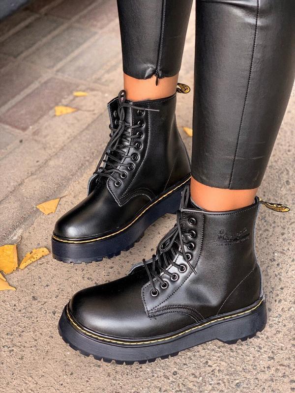 Шикарные женские зимние ботинки с мехом dr.martens black jadon... - Фото 4