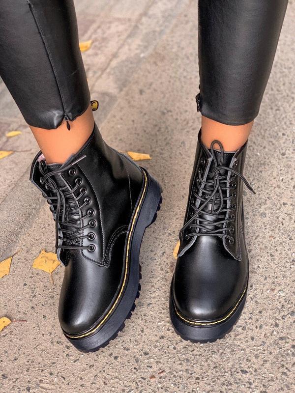 Шикарные женские зимние ботинки с мехом dr.martens black jadon... - Фото 5
