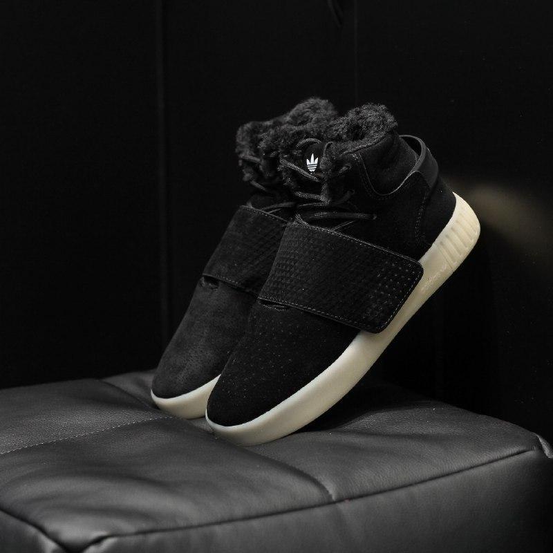 Шикарные женские зимние кроссовки  adidas tubular invider с мехом
