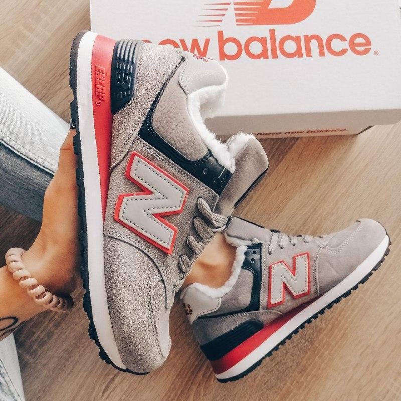 Шикарные женские зимние кроссовки с мехом new balance 574