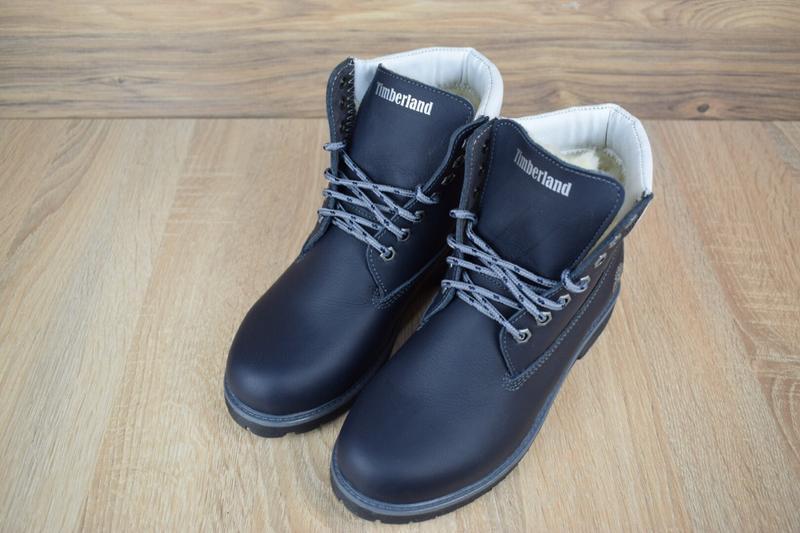 Шикарные женские зимние ботинки  timberland с мехом  темно-синие - Фото 4