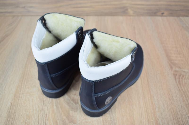 Шикарные женские зимние ботинки  timberland с мехом  темно-синие - Фото 5