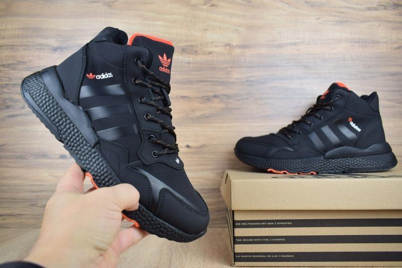Шикарные мужские зимние кроссовки adidas jogger черные с оранж...