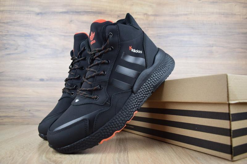 Шикарные мужские зимние кроссовки adidas jogger черные с оранж... - Фото 2