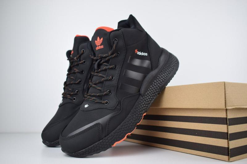 Шикарные мужские зимние кроссовки adidas jogger черные с оранж... - Фото 3