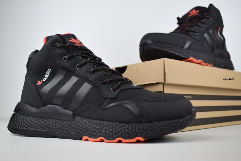 Шикарные мужские зимние кроссовки adidas jogger черные с оранж... - Фото 4