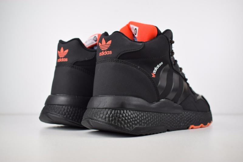 Шикарные мужские зимние кроссовки adidas jogger черные с оранж... - Фото 5
