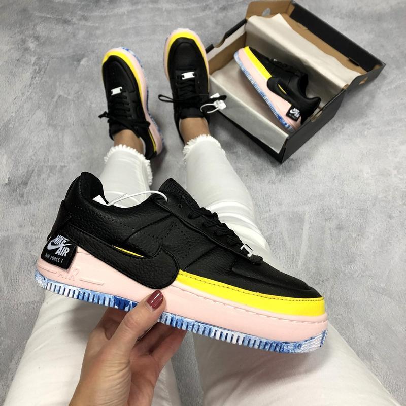 Шикарные женские кроссовки nike air force jester black/yellow/...