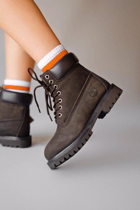 Шикарные женские зимние ботинки  с мехом timberland brown (мех) - Фото 2