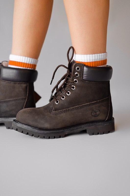 Шикарные женские зимние ботинки  с мехом timberland brown (мех) - Фото 3