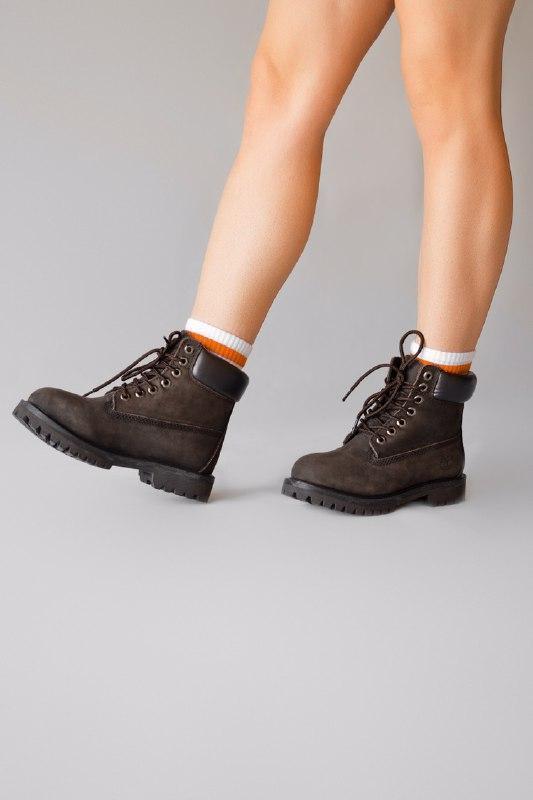 Шикарные женские зимние ботинки  с мехом timberland brown (мех) - Фото 4