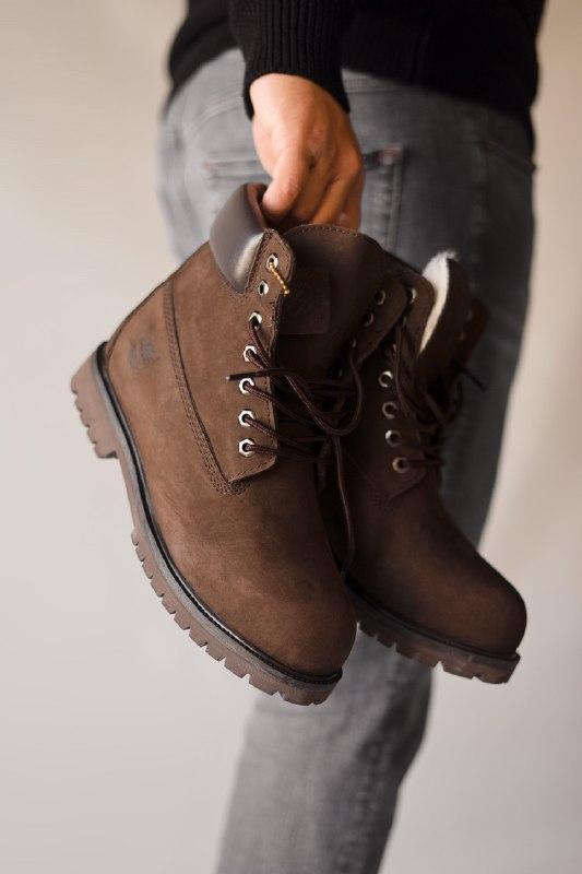 Шикарные мужские зимние ботинки  с мехом  timberland brown (мех)