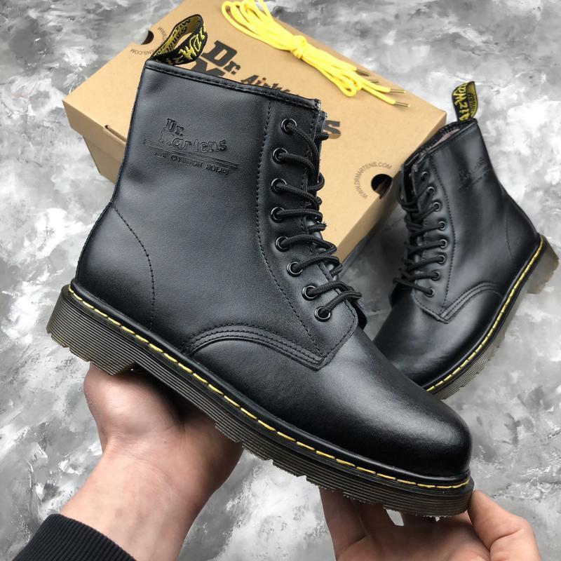 Шикарные женские зимние ботинки dr. martens 1460 black fur