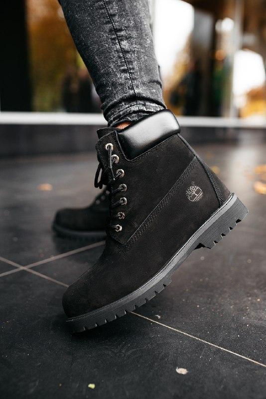 """Шикарные мужские зимние ботинки с мехом timberland """"black"""""""