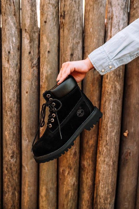 """Шикарные женские зимние ботинки с мехом timberland """"black"""""""