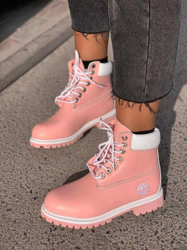 Шикарные женские  демисезонные ботинки timbarland pink