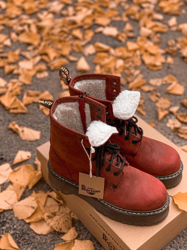 Шикарные женские зимние ботинки dr. martens jadon bordo high fur - Фото 2