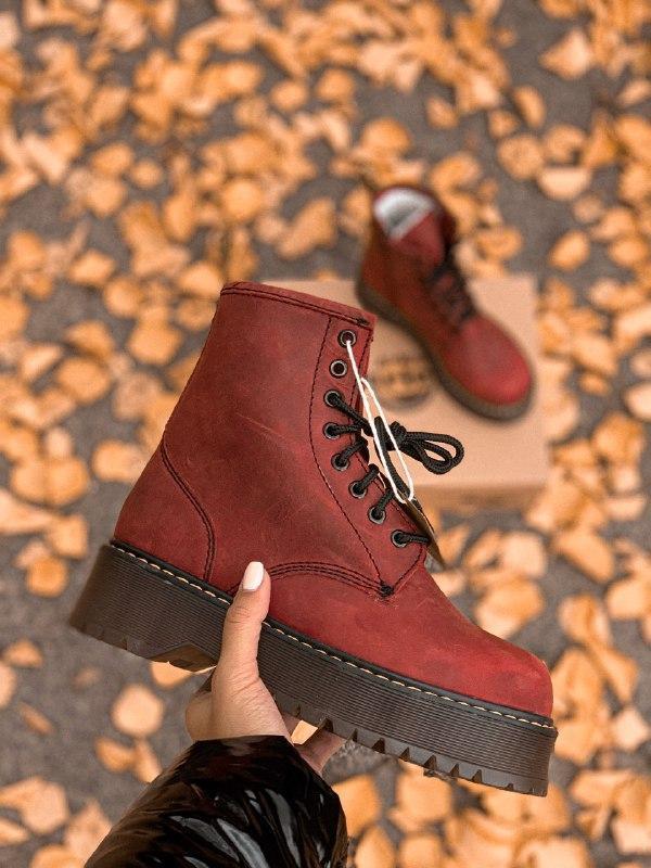Шикарные женские зимние ботинки dr. martens jadon bordo high fur - Фото 3