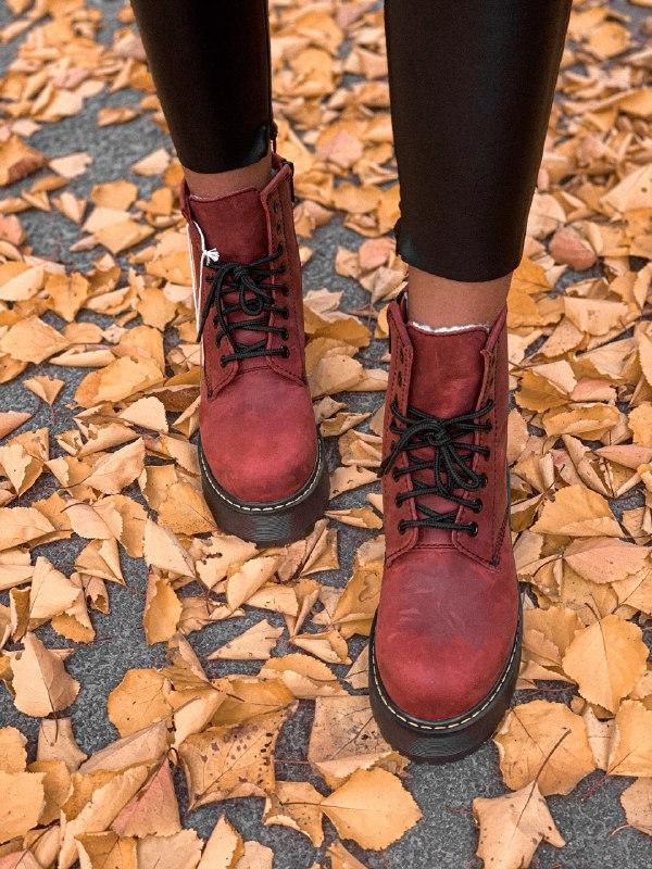 Шикарные женские зимние ботинки dr. martens jadon bordo high fur - Фото 4