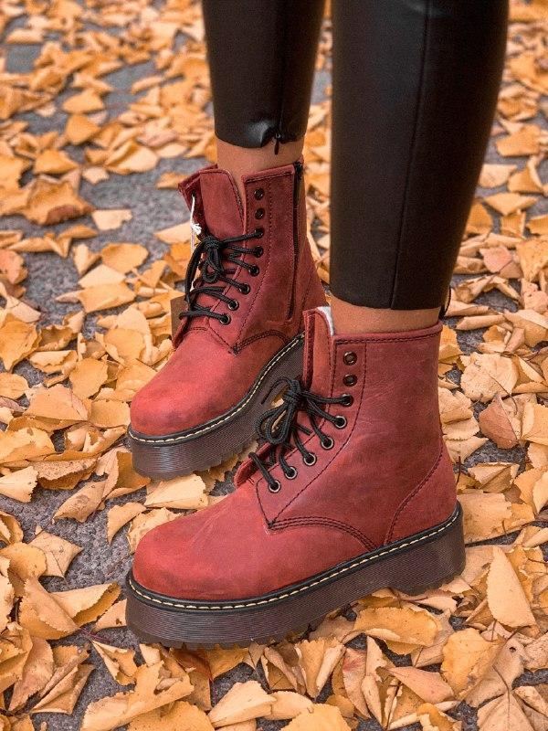 Шикарные женские зимние ботинки dr. martens jadon bordo high fur - Фото 5