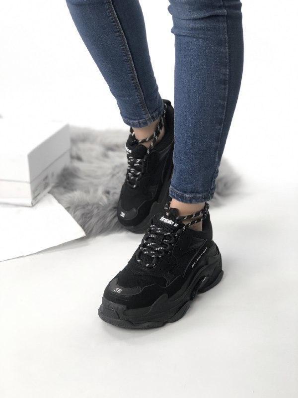 Шикарные женские кроссовки balenciaga triple s black