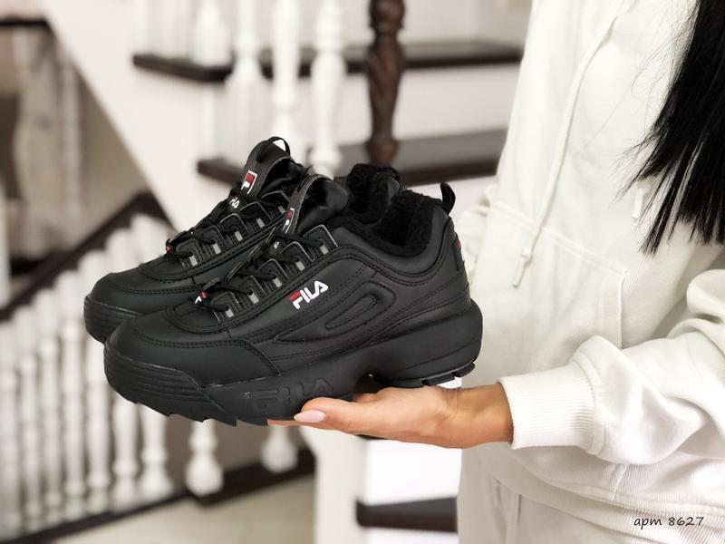 Шикарные женские зимние  кроссовки fila disruptor 2 black winter