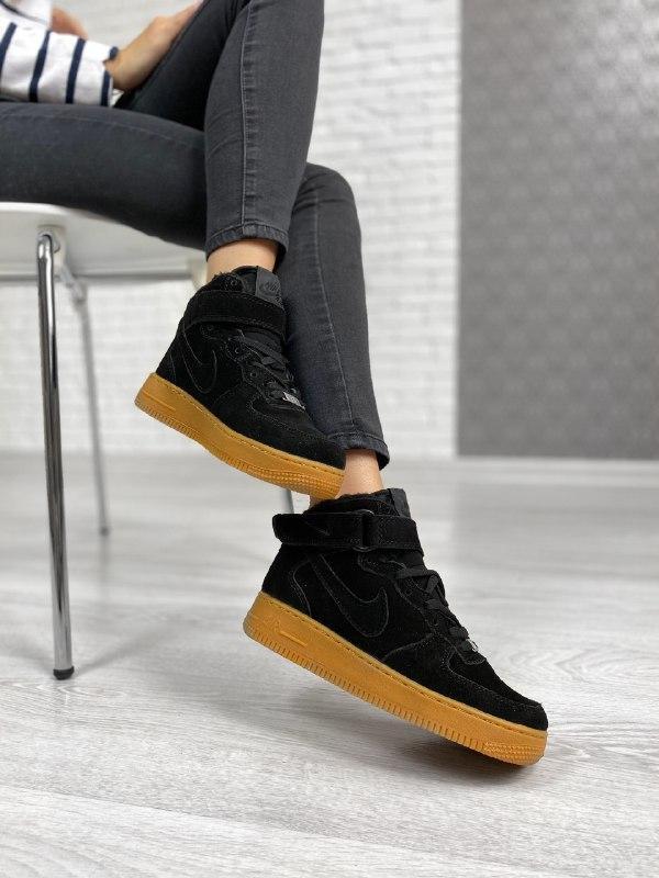 Шикарные женские зимние кроссовки nike air force 1 high black