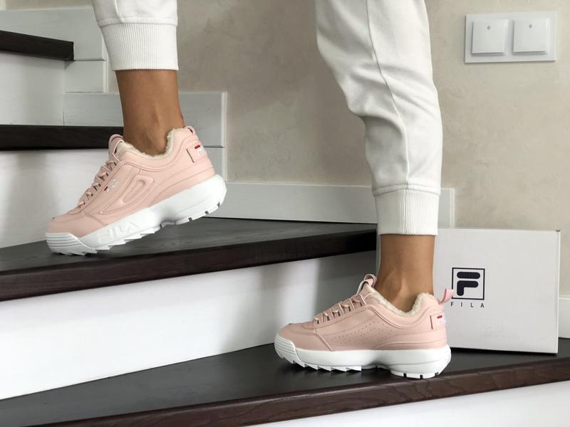 Шикарные женские зимние  кроссовки fila disruptor 2 pink winter - Фото 4