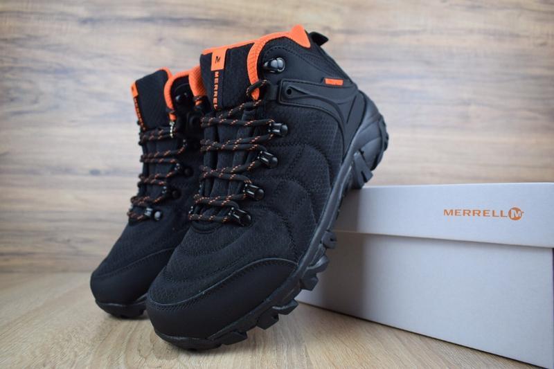 Шикарные мужские зимние ботинки с мехом merrell  черные с оран...