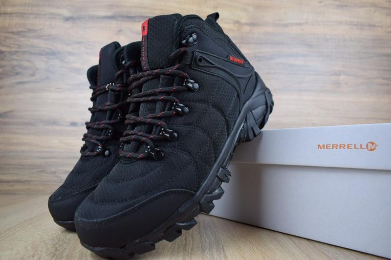 Шикарные мужские зимние ботинки с мехом merrell черные с красным