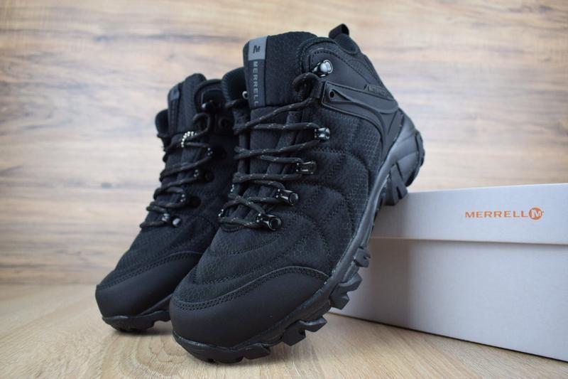 Шикарные мужские зимние ботинки с мехом merrell черные