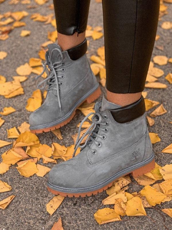 Шикарные женские зимние ботинки timberland gray с мехом