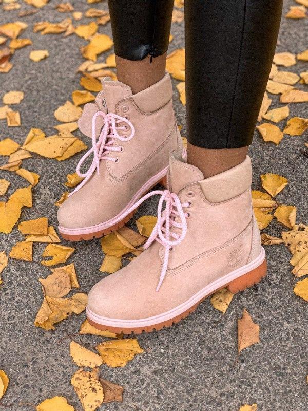 Шикарные женские зимние ботинки timberland pink с мехом