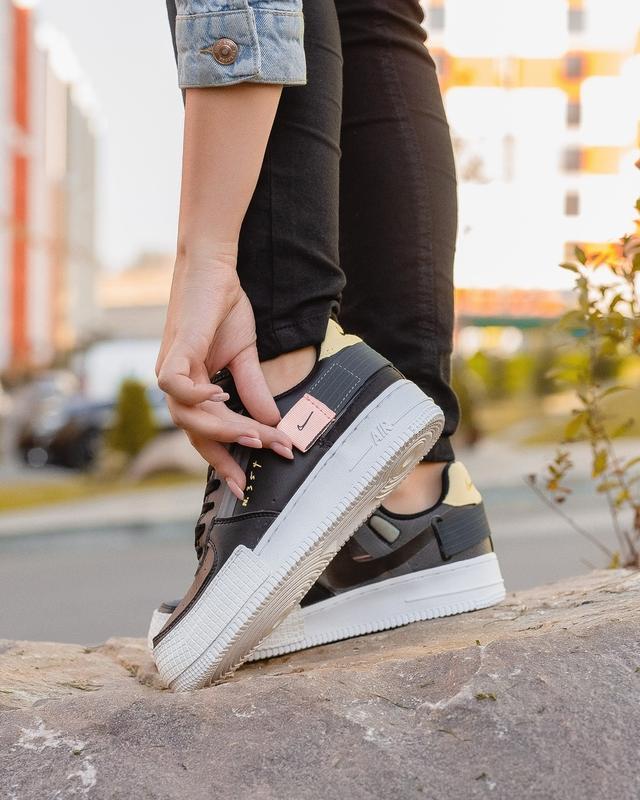 Шикарные женские кроссовки nike air force black 1 low 354