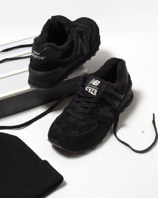Шикарные женские зимние кроссовки new balance 574 black fur