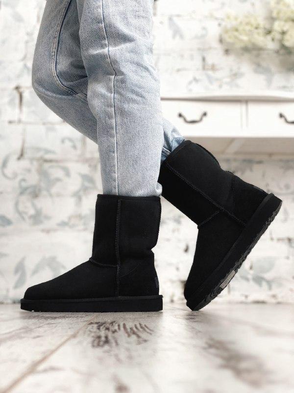 Шикарные женские зимние сапоги угги ugg classic ii short black