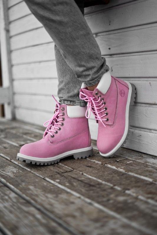 Шикарные женские демисезонные ботинки timberland pink (термо)