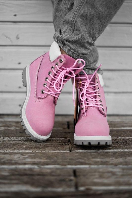 Шикарные женские демисезонные ботинки timberland pink (термо) - Фото 2