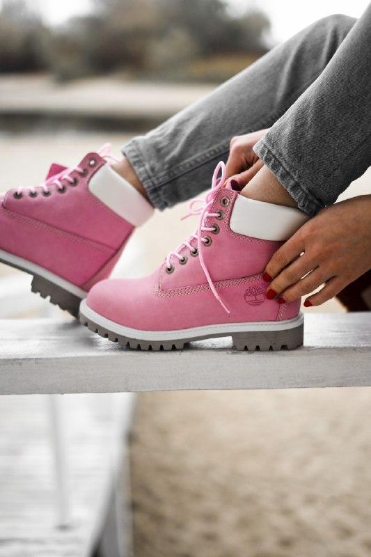 Шикарные женские демисезонные ботинки timberland pink (термо) - Фото 4