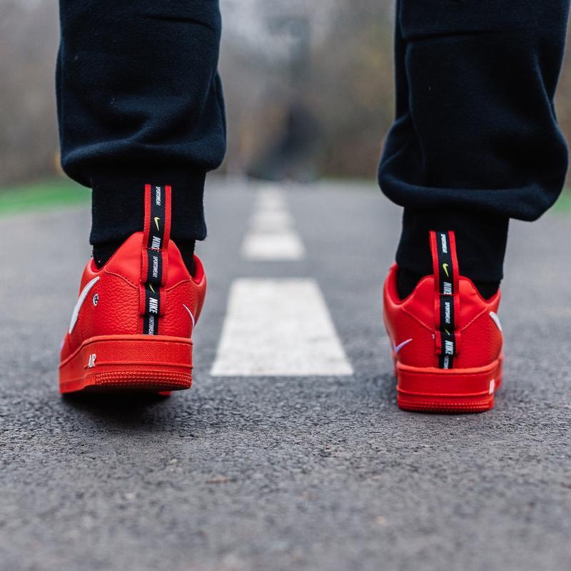 Шикарные женские кроссовки nike air force 1 low red - Фото 4