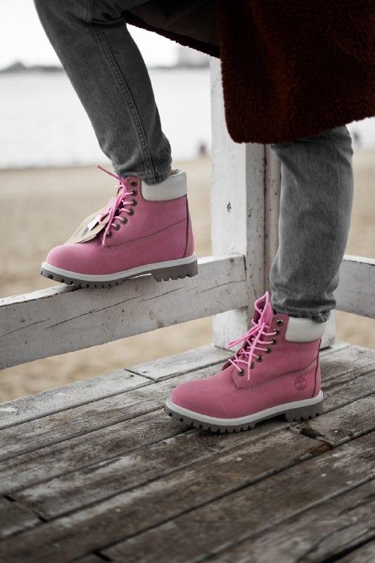 Шикарные женские демисезонные ботинки timberland pink (термо) - Фото 5