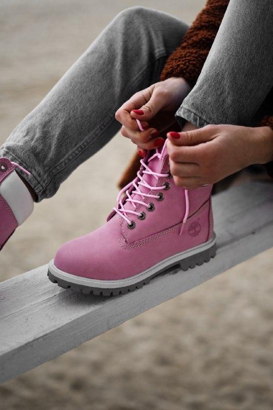 Шикарные женские демисезонные ботинки timberland pink (термо) - Фото 6